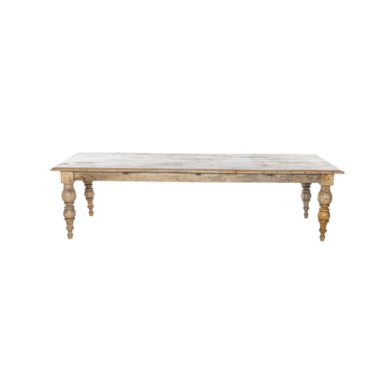 Cadence Dining Table - Cannon Leg French Provincial Table easily seating 10-12 people. A large dining table carefully crafted from reclaimed timber, the Cadence Dining Table is filled with character and will stand the test of time. Suitable for Hamptons and upmarket Country styles - side view.