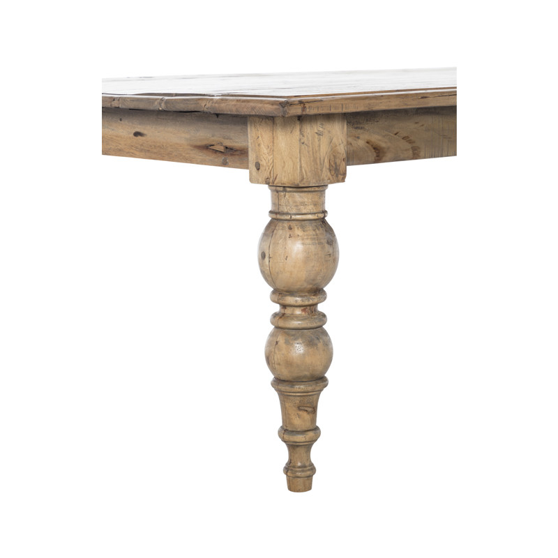 Cadence Dining Table - Cannon Leg French Provincial Table easily seating 10-12 people. A large dining table carefully crafted from reclaimed timber, the Cadence Dining Table is filled with character and will stand the test of time. Suitable for Hamptons and upmarket Country styles - leg detail.
