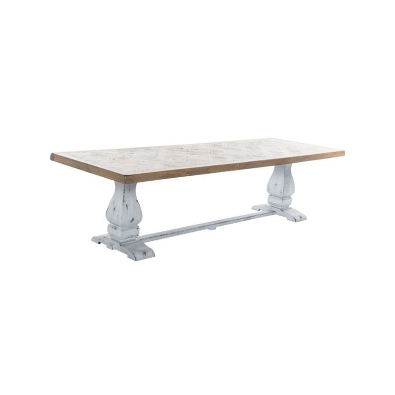 Whistler Dining Table with Parquetry Top and Turned Leg Refectory Base. Large French Provincial Dining Table, also suitable for coastal and Hamptons dining settings.