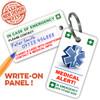 MEDICAL ALERT Key Ring with Space for on emergency contact