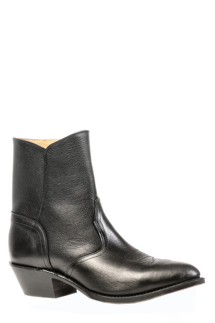 Men's Boulet western dress cowboy boot in black. Medium cowboy toe, cowboy heel and leather sole. 7 inch shaft with side zipper. Made in Canada.