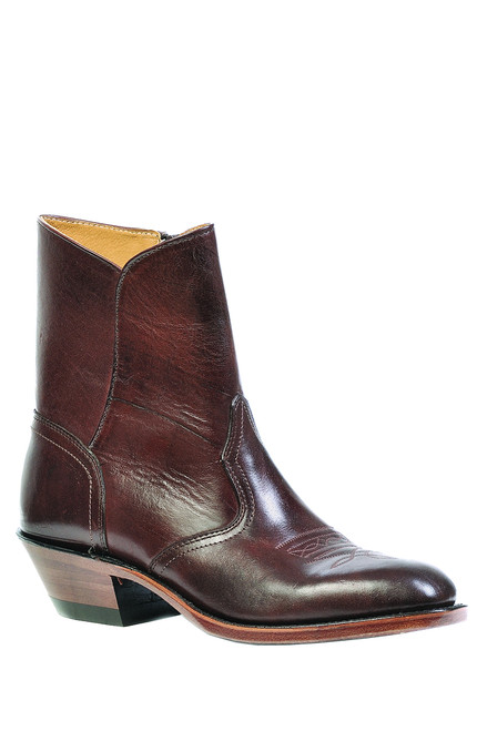 Men's Boulet 1118 Brown Western Dress Boot with Western Dress Toe. Cowboy heel and side zipper. Made in Canada.