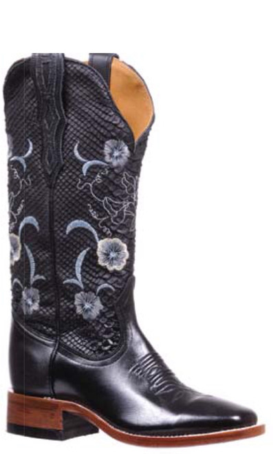 Woman's Boulet 4190 Black with Black and White Shaft, Wide Square Toe and Stockman Heel