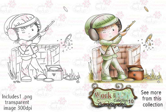 Clay Pigeon Digital Stamp - Work & Play 10 Digital Craft Download