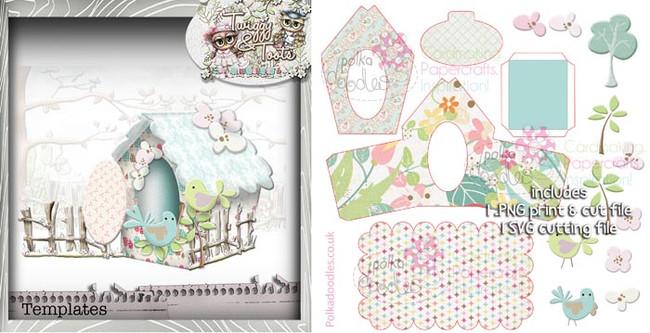 3D Birdhouse 3 template SVG Cutting file - Digital Craft Download