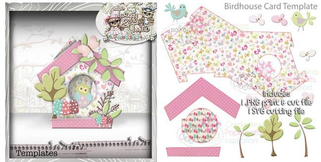 Birdhouse 2 Card template SVG Cutting file - Digital Craft Download