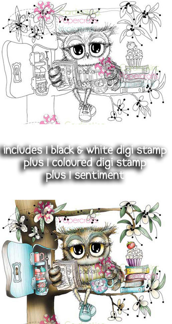 Reading Wise Words & Tea - Twiggy & Toots Digital Stamp Craft Download