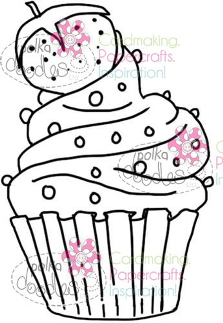Strawberry Cupcake Digital Stamp Craft Download