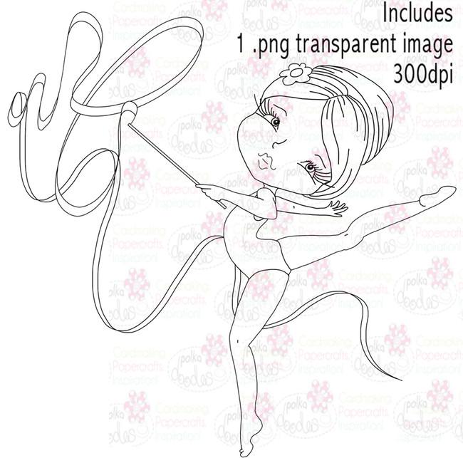 Gymnast/Twirling girl/Acrobat - Digital Stamp Download