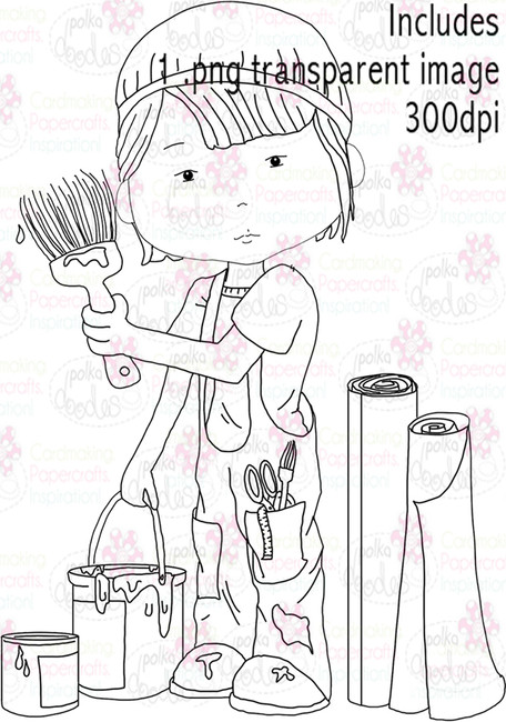 Painter, Decorator, Decorating - Digital Stamp Download