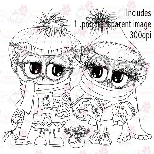 Carol Singing - Twiggy & Toots Festive Fun - Digital Digital Stamp