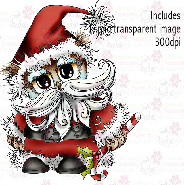 Santa Owl - Twiggy & Toots - Digital Craft Stamp Download