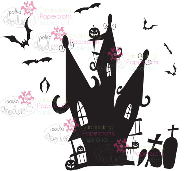 Spooky House Halloween Digital Stamp download