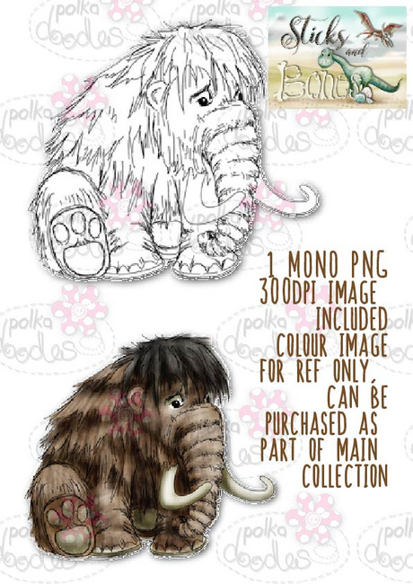 Sticks & Bones - Mammoth Dinosaur  - Digital Stamp CRAFT Download