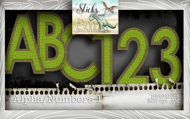Sticks & Bones - Alphabet 1 - Digital Stamp CRAFT Download