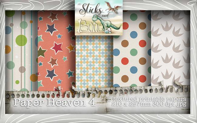 Sticks & Bones - Textured Dinosaur Papers 4 (5 papers A4) - Digital Stamp CRAFT Download