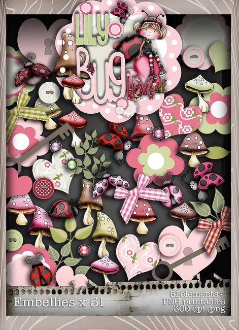 Lily Bug Love Embellies bundle kit (51 elements) - Digital Stamp CRAFT Download