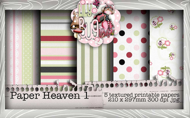 Lily Bug Love Paper Heaven 1 bundle kit (5 papers) - Digital Stamp CRAFT Download