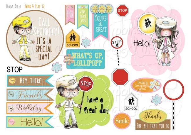 Work & Play 12 Design Sheet - Lollipop man/lady/school crossing patrol/security - Digital Stamp CRAFT Download