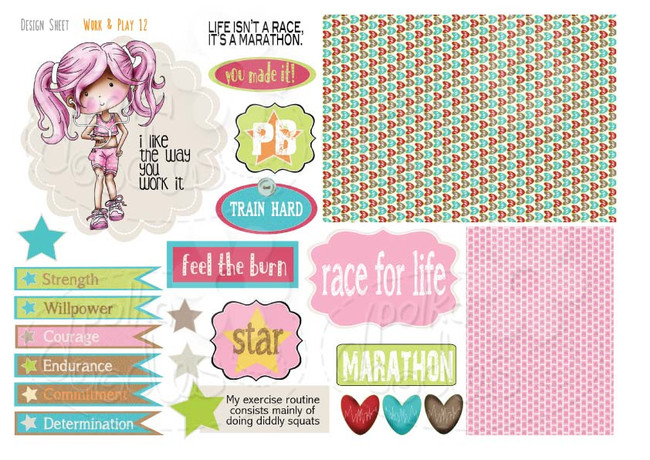 Work & Play 12 Design Sheet - runner/workout/keep fit/race for life - Digital Stamp CRAFT Download