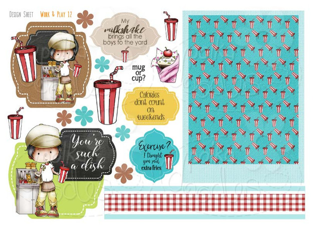 Work & Play 12 Design Sheet - Fast food/burger/waiter - Digital Stamp CRAFT Download