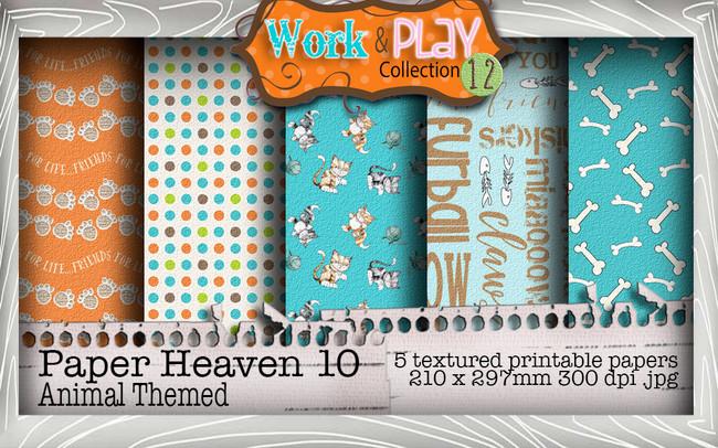 Work & Play 12 Paper Heaven 10 bundle kit - vet/cat (5 papers)
