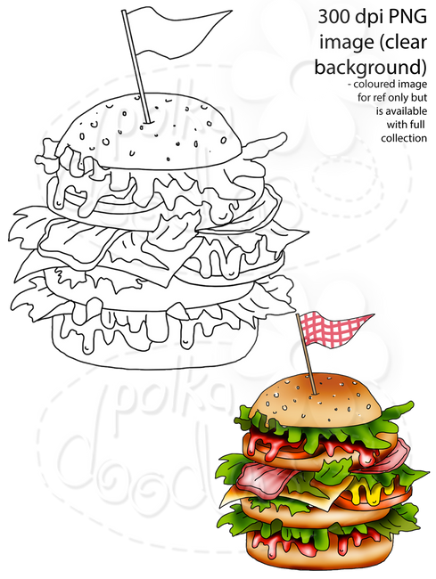 Burger Digital Stamp - Printable Crafting Digital Stamp Craft Scrapbooking Download