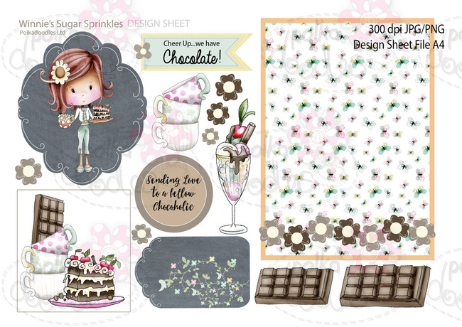 Winnie Sugar Sprinkles Springtime DESIGN SHEET 4 - Printable Crafting Digital Stamp Craft Scrapbooking Download