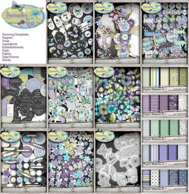Lavender Tea Printables Download Craft & Scrapbooking Collection
