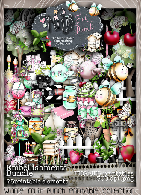 Winnie Fruit Punch Embellies Bundle - Printable Crafting Digital Stamp Craft Scrapbooking Download