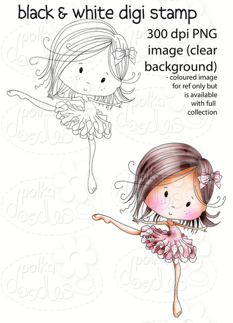 Dancing Queen - Winnie Fruit Punch Printable Digital Craft Stamp Download, digiscrap