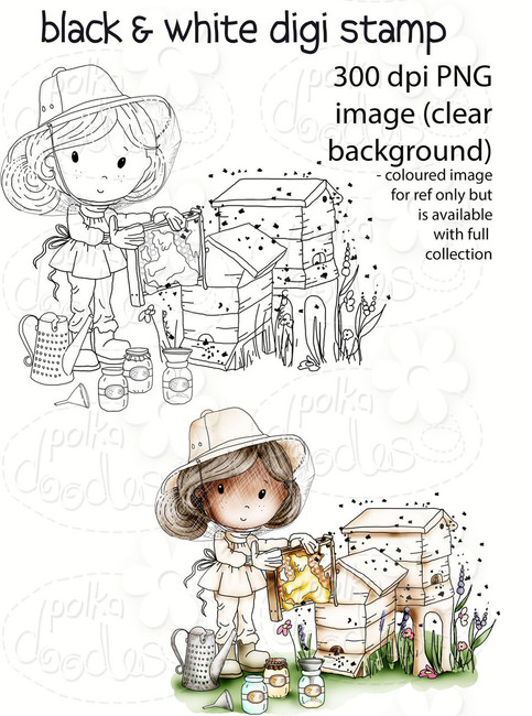 Buzzy Bee Honey - Winnie Fruit Punch Printable Digital Craft Stamp Download, digiscrap