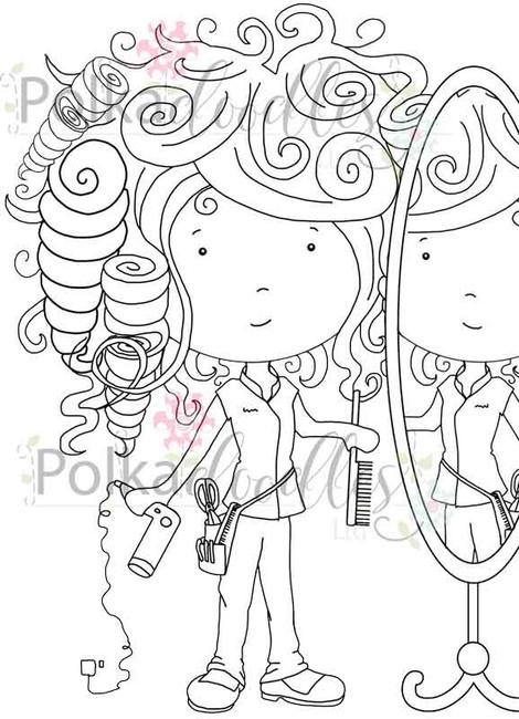 Hairdresser Reflection - digital craft stamp download