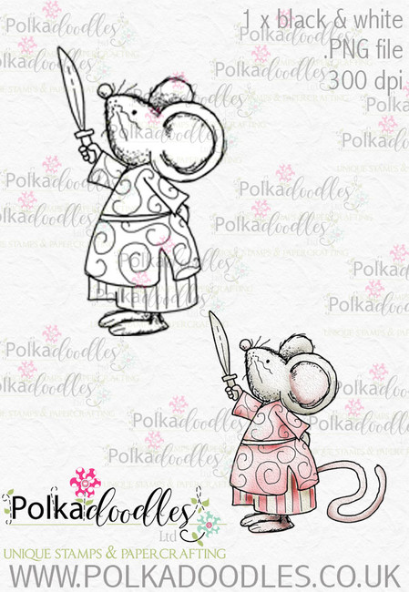Winnie Wonderland mouse - Printable Digital stamp download
