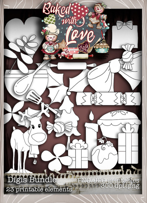 Baked With Love - Digis digital craft paper download