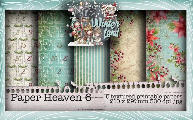 Winnie Winterland - Paper Heaven 6 digital craft papers download