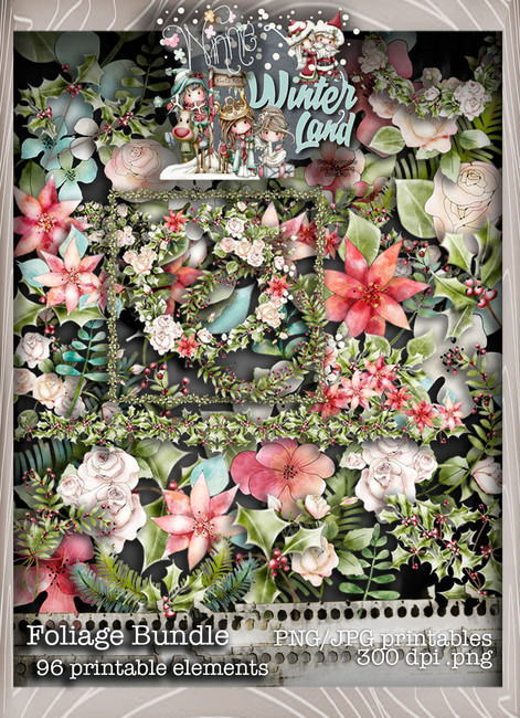 Winnie Winterland - Foliage digital craft papers download