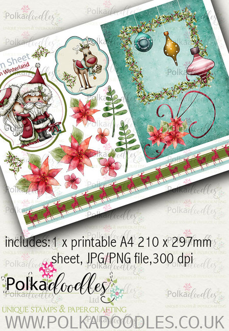 Winnie Winterland - Design Sheet 3 digital craft papers download