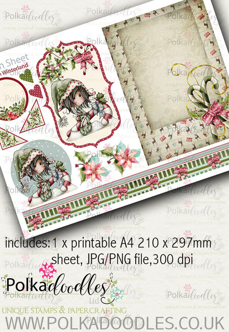 Winnie Winterland - Design Sheet 4 digital craft papers download