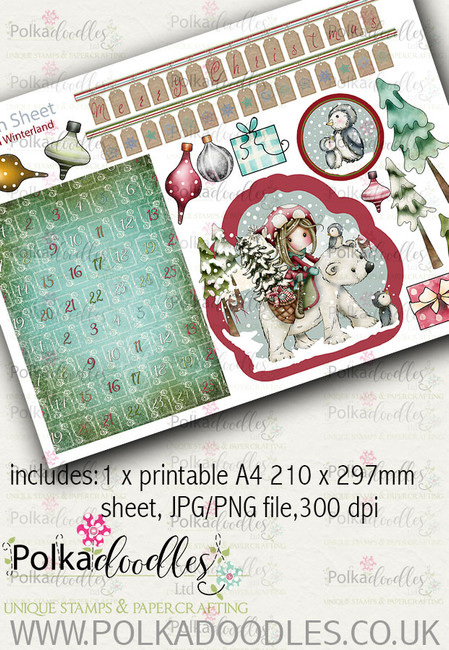 Winnie Winterland - Design Sheet 12 digital craft papers download