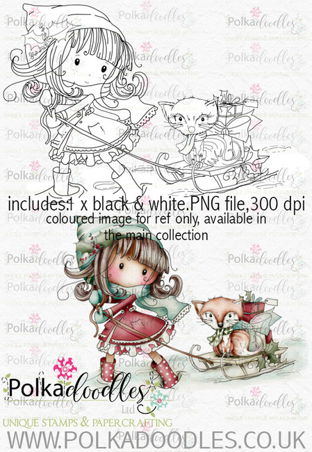 Winnie Winterland - Winter Fox digital craft stamp download