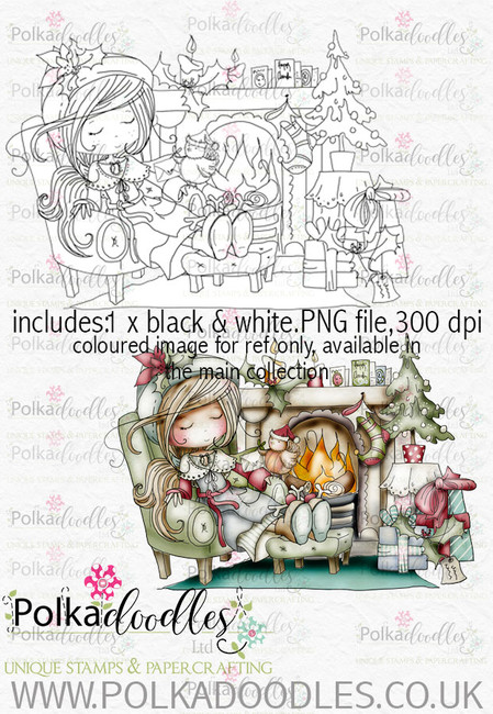 Winnie Winterland - Cosy Christmas digital craft stamp download