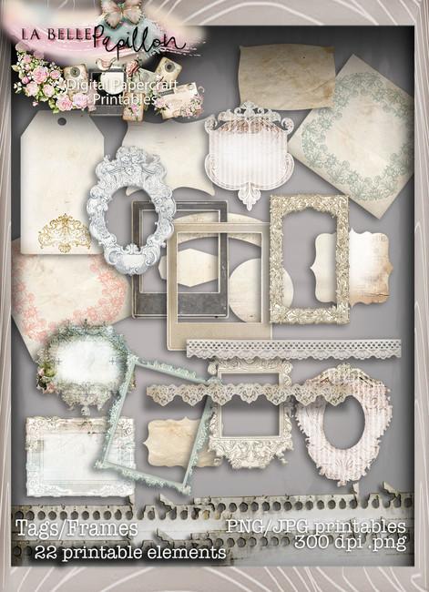 Belle Papillon - Vintage Printable Tags/Frames Download