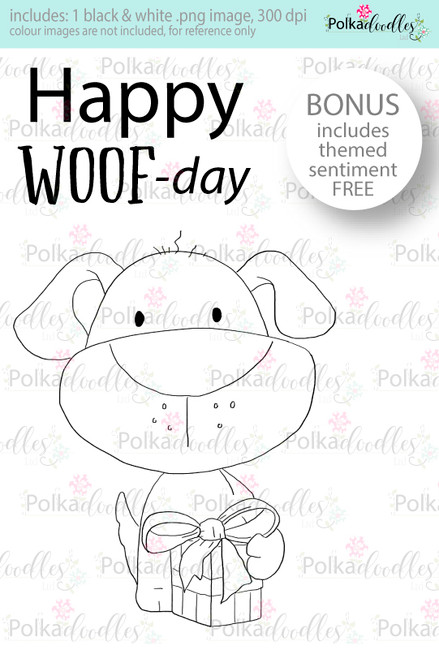 Happy Woof-day dog/puppy ...Craft Digital stamp download with FREE Sentiment