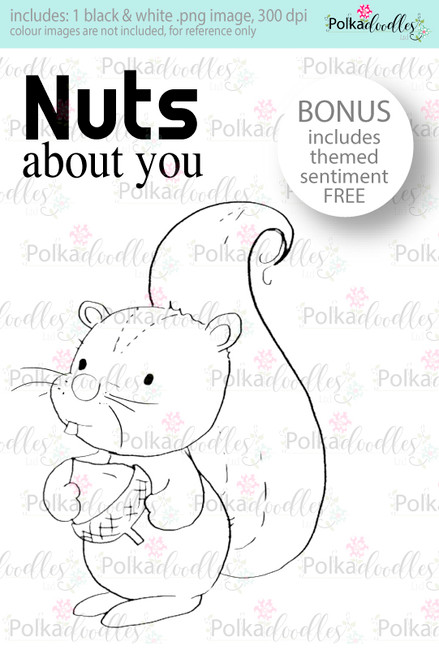 Nuts About You...Craft Digital stamp download with FREE Sentiment
