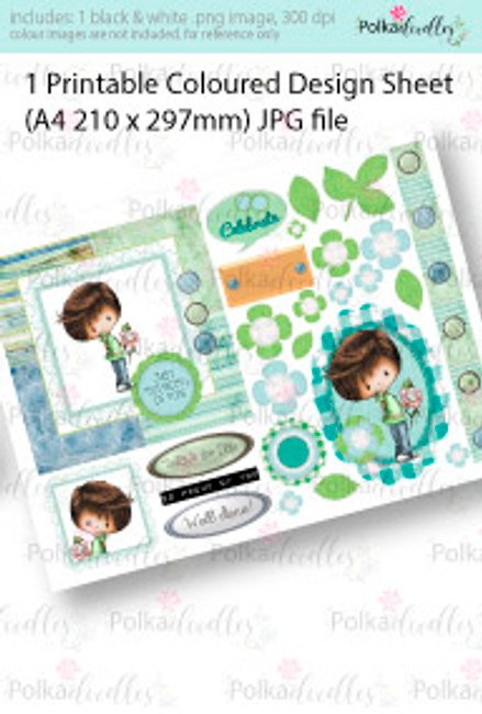 Flowers/gift for You Boy. Coloured Card making Design Sheet - Winnie Special Moments...Craft printable download digital stamps/digi scrap kit