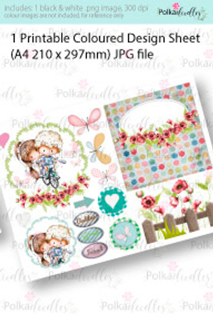 Boy and girl riding a bike/bicycle. Coloured Card making Design Sheet - Winnie Special Moments...Craft printable download digital stamps/digi scrap kit
