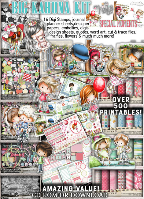 Big Kahuna value, Winnie Special Moments...Craft printable download digital stamps/digi scrap kit 500 digital stamp clipart