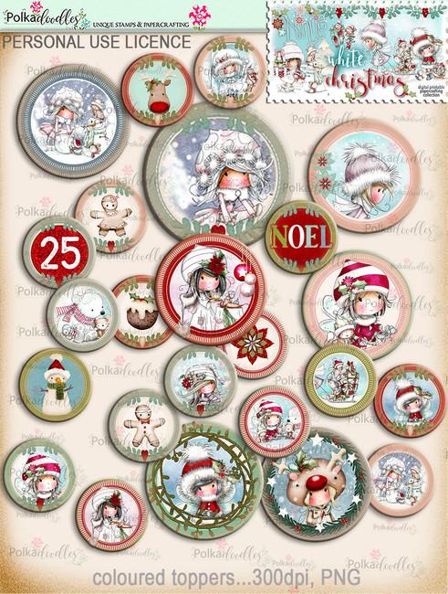 45+ Printable Christmas Topper Embellishments - Winnie White Christmas...Craft printable download digital stamps/digi scrap