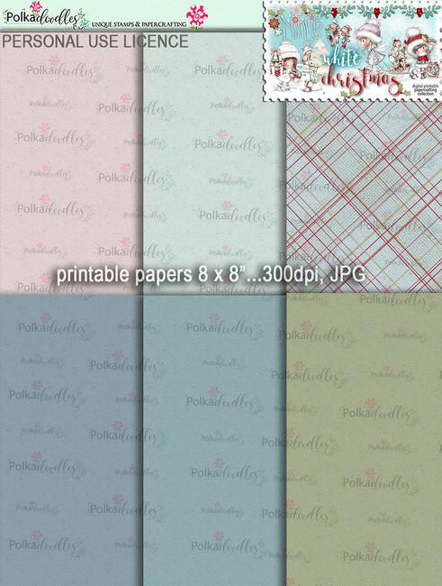6 Printable Christmas Word Art Embellishments - Winnie White Christmas...Craft printable download digital stamps/digi scrap